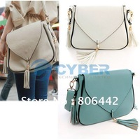 Free Shipping Fashion Women Korean PU leather Tassels lady Shoulder Messenger Bag