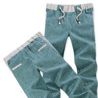 Men leisure cotton linen cool grid trousers straight long pants men