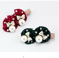 Pearl bow flower hairpin  ,headdress,CS008547  ,12pcs/lot, Mixed Color Free shipping, Fashion headwear .