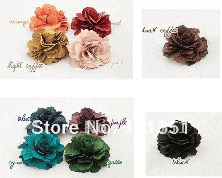 "100pcs 3"" mixed colors Fabric Lady Satin Peony Flower Hair Clips Brooch Bridal Wedding Hawaii Party Girl fascinator artificial(China (Mainland))"