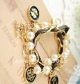 Min.order is $15 Free shipping  Black Flower Pearl Multilayer European popular Bracelet B1