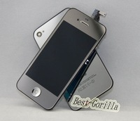 New silver Mirror Plating LCD & Digitizer Touch Assembly + Rear Back Door Housing for iPhone 4S