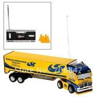 Racing Container Truck with 27 MHz Remote Control Toy Gift for Children (Yellow)