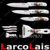 "Кухонный нож 2PCS larcolais 4"" 5"" inch Black Handle White Blade Fruit Utility Ceramic Knife Set Kitchen Knives"