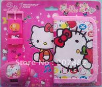 Free shipping! fashion cartoon children watch set hello kitty projection watch set (watch +wallet) A0915 on sale wholesale