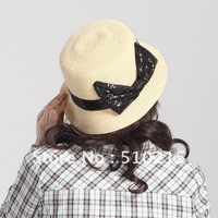 2012 Classic straw hat with paillette band and butterfly knot,6color options,10pcs/pack