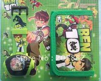 Free shipping! fashion cartoon children watch set ben 10 projection watch set (watch +wallet) A0910 on sale wholesale