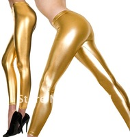 Faux Leather Leggings wet look Skinny tight pants Stylish your leg Y1011-A gold