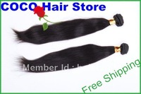 European Virgin hair, straight 10&quot;-32&quot; Hair extensions, and Silky Queen hair,Natural Black #1b,Free Shipping, 1 lot=2pcs