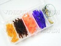 Sale! 20Box Per Lot (70pcs In 1)Fresh Water Fishing Snap Soft Lure Wire Leader Hooks utility Tackle Box Set Kit Shrimp Lure