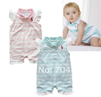 6pcs/lot-short sleeve baby Rompers/girl's clothing/Baby one-piece/striped baby -t-shirt