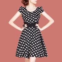 2012 OL outfit british style elegant dot o-neck short-sleeve dress plus size available h08