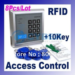 Wholesale 8Pcs/Lot RFID Proximity Entry Lock Door Access Control System AD2000-M with 10 Keyfobs Free Shipping 2362(China (Mainland))