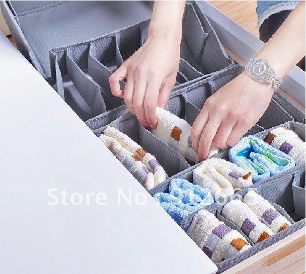 4pcs/lot non woven bra underwear storage box case folding home organizer clothes storage bin free shipping(China (Mainland))