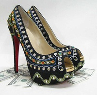 2012 sandals,Bollywoody black Suede-Embroidered red-sole platforms high heel platforms pumps womens shoes