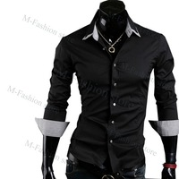 Free shipping New Designer Fashion Long Sleeve Luxury Slim Fit Men's Shirts