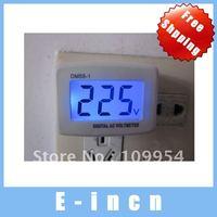 5PCS AC 100v-300V Digital LCD Voltmeter Household Switch Flat Plug Voltage 110V/220V.free shipping