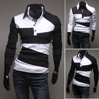 Free shipping 2012 fashion New Men's Casual Stylish Slim Fit Shirts T-shirts Tee Coat Long Sleeve
