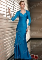 Attractive V-neck Asymmetrical Mermaid Ankle-length Turquoise Satin Chiffon Mother Of The Bride Jacket Dresses