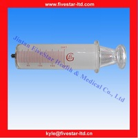 Glass Syringe With Metal Luer Lock Tip 250ml for labware