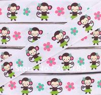"Wholesale 7/8""22mm Jungle Gem Jem Monkey flower Printed grosgrain ribbon bow"