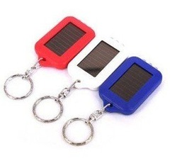 solar Keychain Flashlight Non-stop energy Portable 3 LED black/yellow/blue/red/white for car keychain(China (Mainland))