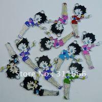 Free shipping 50 pcs/lot Mixed colors Betty Boop  zinc alloy enamel charms pendants