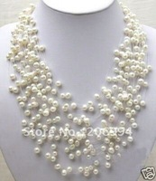 wholesales Charming Starriness Real Freshwater White Pearl Necklace pearl Jewelry,gift, free shipping