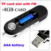 Free shipping 1pcs AAA battery supported USB Digital MP3 Player with FM radio + TF card slot(Hong Kong)