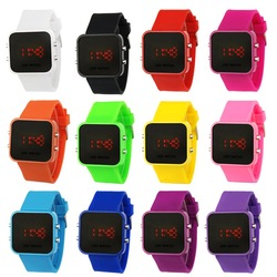 Color Storm Men Lady Mirror LED Date Day Silicone Rubber Band Digital Watch Gift(China (Mainland))