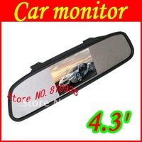 Good quality 4.3' Color LCD Car Monitor Rear View Mirror 4.3 Inch TFT Car LCD Screen Rear View Rearview DVD AV Mirror Monitor