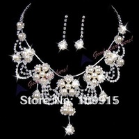 Jewelry Set For Wedding Bridal Rhinestone Pearl Necklace Earring Sliver Plated(LKEX12D)