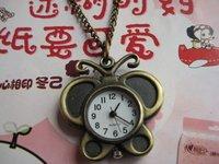 Retro butterfly cartoon pocket watch pocket watch necklace RAHB043  5pcs/lot