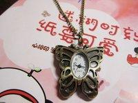 Retro butterfly cartoon pocket watch pocket watch necklace RAHB036  5pcs/lot