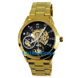 Best Quality Gold Mechanical Skeleton Watch, Discount Stainless Steel Gift Watches For Men W175(China (Mainland))