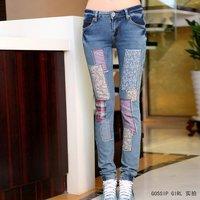 Женский джинсовый комбинезон Fee shipping 2012 spring/autumn low-waist split one piece vest denim set zipper trousers plus size jumpsuits women 1518HX