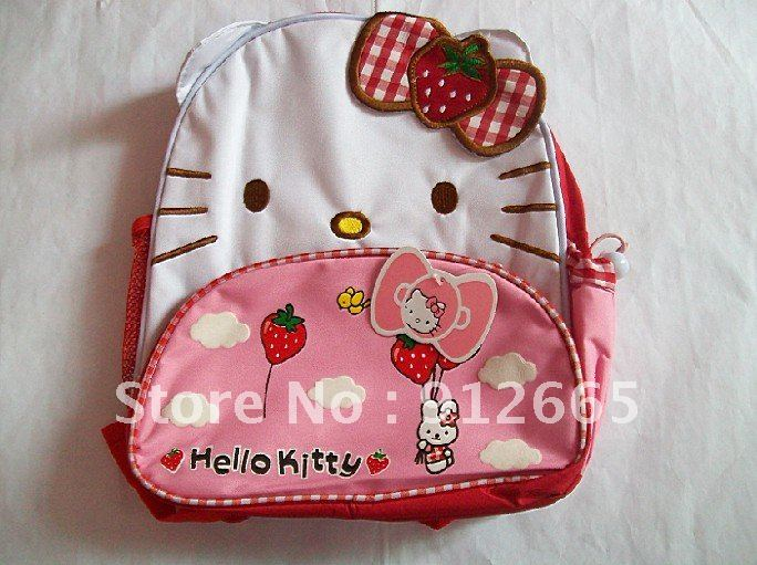 2pcs/lot Hello kitty children canvas backpack waterproof school bag kid&#39;s rucksack satchel free shipping(China (Mainland))