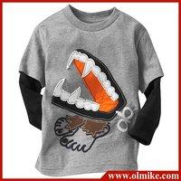 6pcs / lot sale boy's child T-shirt, long sleeve T shirts wholesale children's wear kids clothing, child wear gray free shipping