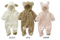 2014 baby fleece romper cartoon hoodie overalls sheep beer rabbit toddlers autumn winter warm jumpsuits 4pcs/lot infant bodysuit