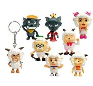 The 8 of sale of mini pleasant goat and grey Wolf model doll/too pleasant goat key ring