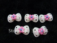 "1""  White Bows & Pink Flowers FlatBack Resins Scrapbooking Embellishment 50pcs Free Shipping"