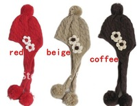 Free Shipping  Winter knitted scarf hat, Children caps, Cute flower hat, 3 color 105g  50pcs/lot