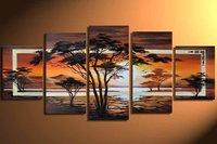 hand-painted Grassland African sunrise High Q. Home Decoration Modern Landscape Oil Painting on canvas 5pcs/set  DY-014