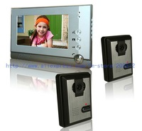 Free shipping  7-inch high clear  color wired video door phone  with night vision, 2 camera to 1 monitor