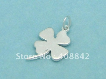 Min order $5 Free shipping 925 Sterling Silver FOUR-LEAF CLOVER Charm Pendant PB49 DIY jewelry Fit Bracelet Earrings Necklace