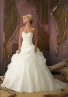 White Iovry Organza Wedding Bridal Gown Dress Size 4 6 8 10 12 14 16 18 20 22+++