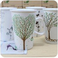 Brief the tree cup lid mug coffee ceramic cup