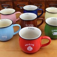 Zakka Large cartoon animal vintage milk breakfast cup mug ceramic cup coffee cup