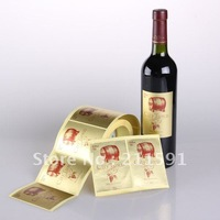 Gift  Wine Glass Bottle Self Adhesive Vinyl PET Gold Labels ,Stickers Printing
