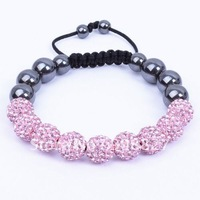 Shamballa Jewelry,9PC 10mm Pink Micro Pave CZ Crystal Disco Ball Bead Shamballa Bracelet with Free Gift Box,Free Shipping